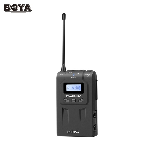 BOYA UHF Dual-Channel 48 Channels Transmitter with LCD Screen Display Compatible for BOYA BY-WM8 Pro-K1/BY-WM8 Pro-K2 Wireless Microphone System