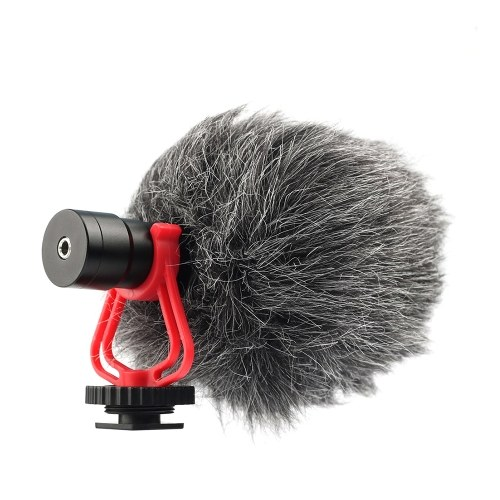 Andoer Universal Cardioid Directional Video Condenser Microphone Mini Mic 3.5mm Plug with Anti-Shock Mount for Canon Nikon Sony DSLR ILDC Cameras Camcorders Smartphones