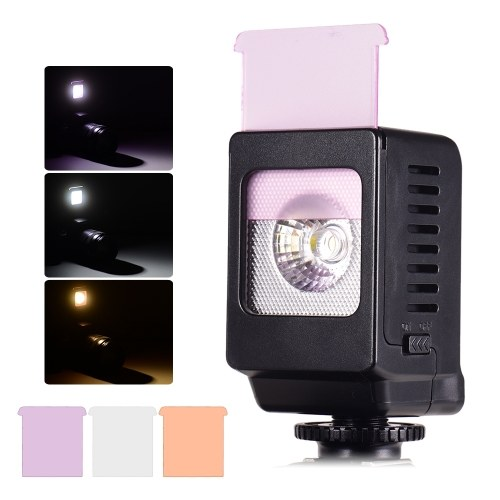 Andoer Mini LED Fill Light Lamp 3W Cold Shoe Mount with 3pcs Color Filters for Canon Nikon Sony DSLR Camera