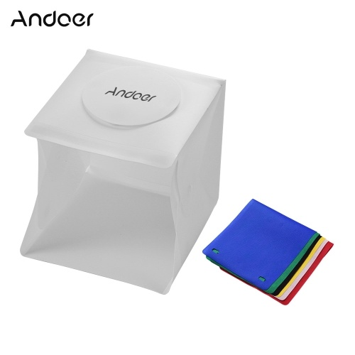 Andoer Portable Photo Studio LED Light Box Shooting Tent Mini Folding Photography Studio Softbox with 6 Colors Backdrops 2pc LED Strip with 40pcs Light Beads 6500K USB Cable for Jewellery Small Products Still Life Photography
