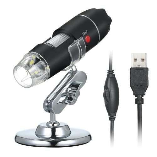 Цифровой USB-микроскоп с увеличением 1600X Камера 8 светодиодов с подставкой Портативная портативная лупа для осмотра