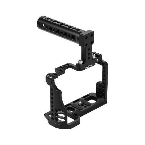 Andoer Video Camera Cage + Top Handle Kit Alloy Aluminium with Cold Shoe Mount 1/4 Inch & 3/8 Inch Screw Holes Compatible with Sony A7R4 A7R IV