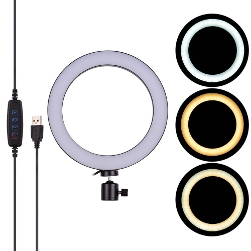 20 cm Mini LED Video Ring Licht Lampe 3 Beleuchtungsmodi Einstellbare Helligkeit USB Powered