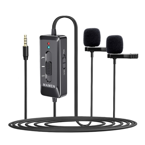 MAMEN KM-D2 Pro Clip-on Lavalier Microphone with Omni-directional Dual Mics 3.5mm Plug with 6.35mm Audio Adapter Type-C Data Line