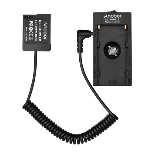 Andoer NP-F970 F750 Adaptateur de support de plaque de batterie avec double interface USB + Coupleur de batterie factice NP-W126