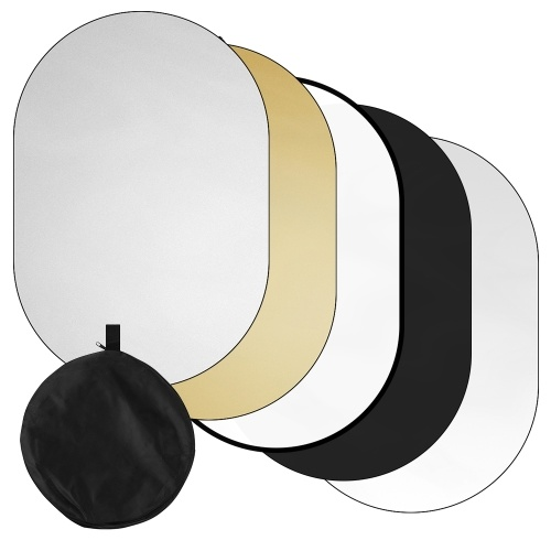 100 * 150cm/ 39 * 59inch Photography Light Reflector 5-in-1(Translucent, Silver, Gold, White, Black) Collapsible Multi-Disc