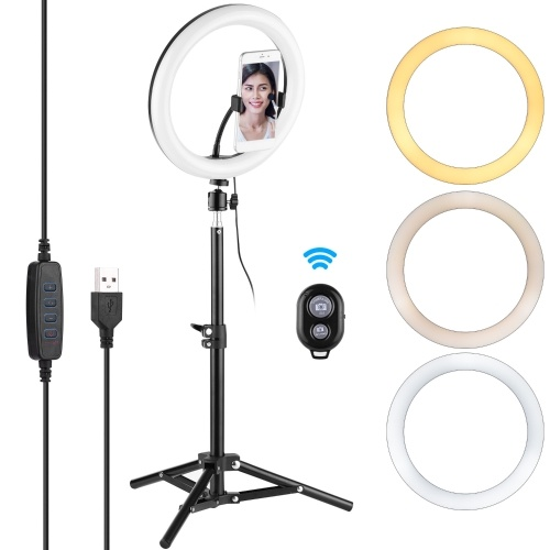 Andoer Video Streaming Kit with 10inch LED Ring Light Ball Head Tripod Remote Shutter with Phone Holder
