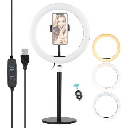 Lumière d'anneau de 10 pouces Selfie Beauty LED Light USB alimenté 3 modes d'éclairage Dimmable