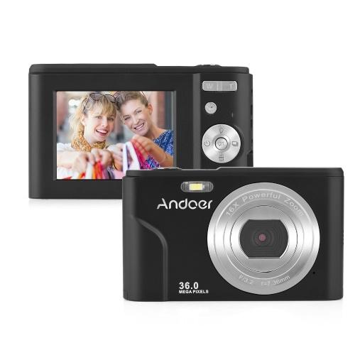 Andoer Câmera Digital 36MP 1080P Tela IPS de 2,4 polegadas Zoom 16x Auto-temporizador 128GB Memória Estendida Detecção de Rosto Anti-vibração