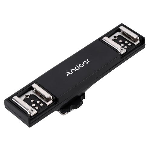 Andoer Dual Hot Shoe Flash Speedlite Light Bracket Splitter for Canon 7DII 70D 5DR 5DRS 5DIII 6D  DSLR Camera Camcorder