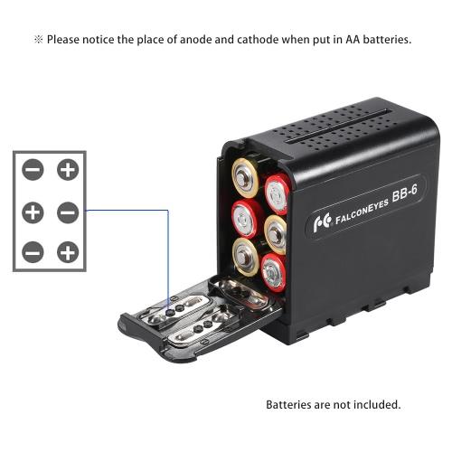 BB-6 6pcs AA Batterie-Satz-Kasten-Batterie-Halter-Energie als NP-F Reihe Batterie für LED-Video-Licht-Verkleidung / Monitor