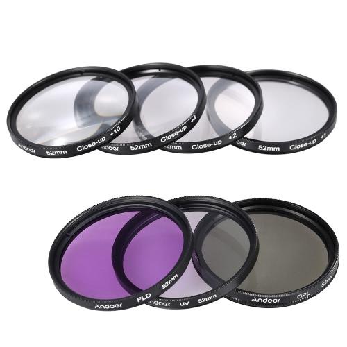 Andoer 52mm UV + CPL + FLD + Makro (+ 1 + 2 + 4 + 10) Zestaw filtra obiektywu z etui + pokrywka obiektywu + Lens Cap Holder + Tulip & Rubber obiektywu Okapy + ściereczka do czyszczenia obiektywu