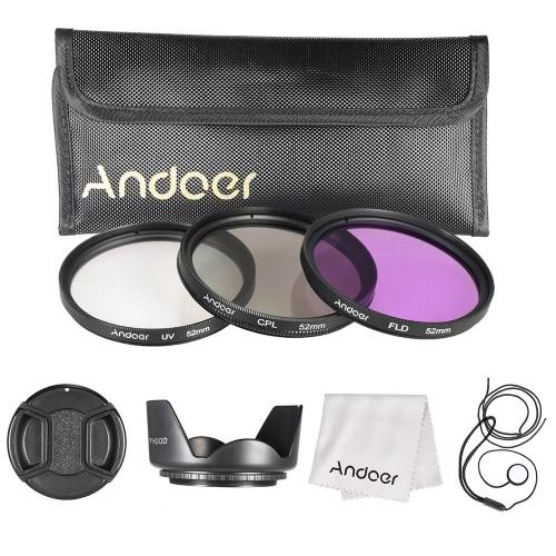 Andoer 52 ミリメートル フィルター キット (UV + CPL + FLD) + ナイロン運ぶポーチ レンズ キャップ + レンズ キャップ ホルダー + レンズフード + レンズ クリーニング クロス