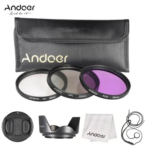 Andoer 52mm Filter Kit (UV+CPL+FLD) + Nylon Carry Pouch + Lens Cap + Lens Cap Holder + Lens Hood + Lens Cleaning Cloth