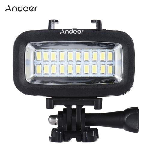 Andoer High Power 700lm plongée sous-marine Vidéo Fill-in Light LED lampe d'éclairage 40M étanche 1900mAh batterie intégrée rechargeable avec diffuseur pour GoPro SJCAM Xiaomi Yi Sport Action Camera