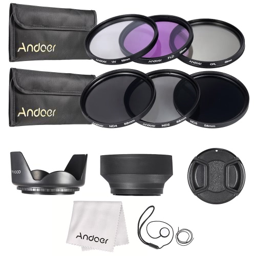 Andoer 58mm Lens Filter Kit UV+CPL+FLD+ND(ND2 ND4 ND8) with Carry Pouch / Lens Cap / Lens Cap Holder / Tulip & Rubber Lens Hoods / Cleaning Cloth