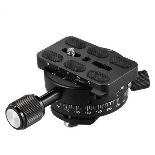 Andoer 360 Degree Camera DSLR Panoramic Panning Base Head Clamp with Quick Release Plate for Photography Tripod Monopod