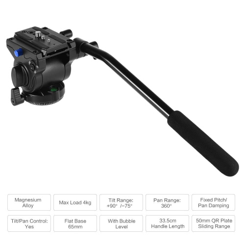 Professional Photography Video 65mm Base Diameter Fluid Drag Tilt Hydraulic Damping Head with Quick Release Plate for DSLR Camera Tripod Monopod Slide