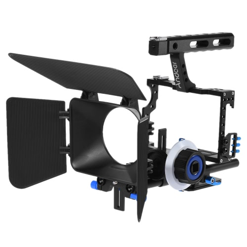 Andoer C500 stopu aluminium Camera Kamera wideo Cage Kit Rig Film Making System z 15mm Rod Matte Box Follow Focus uchwyt do Panasonic GH4 dla Sony A7S / A7 / A7R / A7RII / A7SII