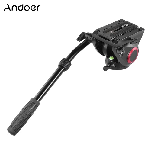 Andoer TP-65 Aluminum Alloy Fluid Drag Tripod Head 360° Panoramic Shooting