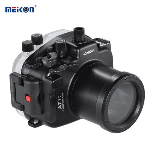 Meikon SY-19 40m / 130ft Camera Case Underwater Camera Boîtier étanche noir étanche pour Sony A7 II avec Interchangeable Port