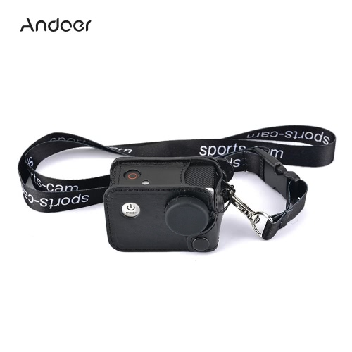 Andoer Multifunctional Clip-on Sports Camera Protecive Carrying Hanging Case Bag with Neck Lanyard Lens Cap for SJCAM SJ4000 SJ5000 or the Same Size Action Cam