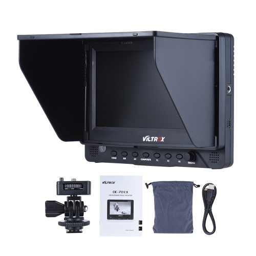 Viltrox DC-70EX 4K Porfessional Portable 7 Inch HD Clip-on Camera Video LCD Monitor Support 4K Signal Input 1024 * 600 Resolution for High Definition Multimedia Interface / SDI Input and Output & AV Input for Canon Nikon Sony Pentax Olympus DSLR Cameras