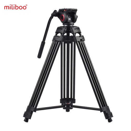 Miliboo MTT601A Professional Photography Aluminum Alloy Tripod Stand 3 Sections with 360° Panorama Fluid Hydraulic Bowl Head Max. Height 153cm/ 5ft Load Capacity 10kg for Canon Nikon Sony DSLR Cameras Camcorders