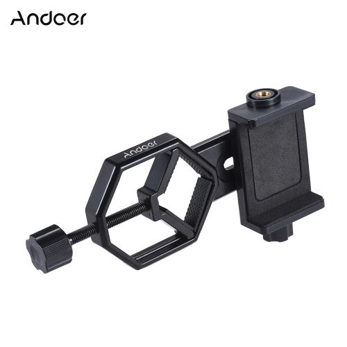 Andoer Metall Teleskop Mount Adapter Halterung mit Adjuatable Smartphone Handy Halter Clip für Binocular Monocular Spotting Scope Mikroskop für iPhone 7Plus / 7 / 6s / 6Plus