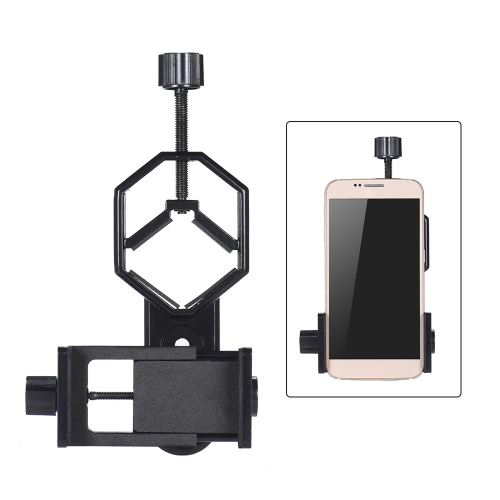 Andoer Metal Telescope Mount Adapter Bracket with Adjuatable Smartphone Cell Phone Holder Clip for Binocular Monocular Spotting Scope Microscope for iPhone 7Plus/ 7/ 6s/ 6Plus