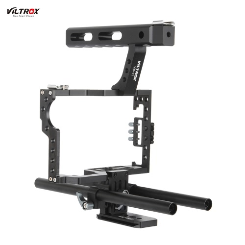 Viltrox VX-11 Aluminum Alloy Video Cage Kit Stabilizer Film Movie Making System w/ 15mm Rail Rod + Top Handle for Panasonic GH4/GH3 for Sony A7S/A7/A7R/A7RII/A7SII ILDC Mirrorless Camera Camcorder