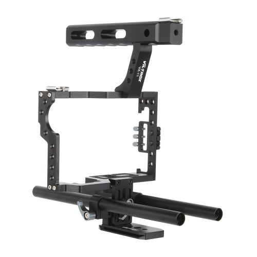 Viltrox VX-11 Aluminum Alloy Video Cage Kit Stabilizer Film Movie Making System w/ 15mm Rail Rod + Top Handle for Panasonic GH4 for Sony A7S/A7/A7R/A7RII/A7SII ILDC Mirrorless Camera Camcorder