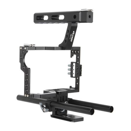 Kit de caisse vidéo en alliage d'aluminium Viltrox VX-11 Stabilisateur Film Film System avec barre de rail de 15 mm + poignée supérieure pour Panasonic GH4 pour Sony A7S / A7 / A7R / A7RII / A7SII caméra caméra miroir ILDC