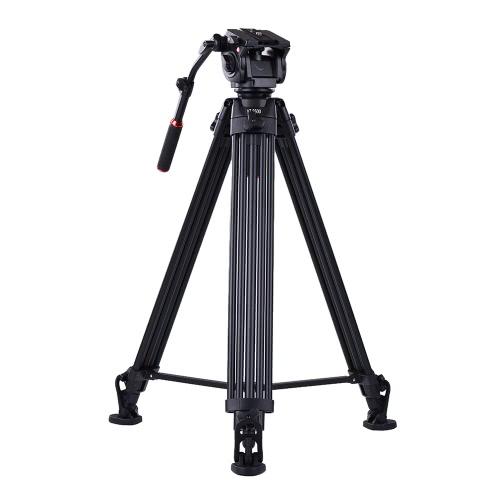 Kingjoy VT-3500 197cm / 6.5ftカメラビデオカメラ用三脚、VT-3530付き液体ダンピングヘッド/ノンスリップ馬蹄型フット/安定中間サポートアルミ合金Max。ソニーA7 A7II A7RII ILDCビデオスタジオ写真製作のための20kg / 44Lbsの負荷