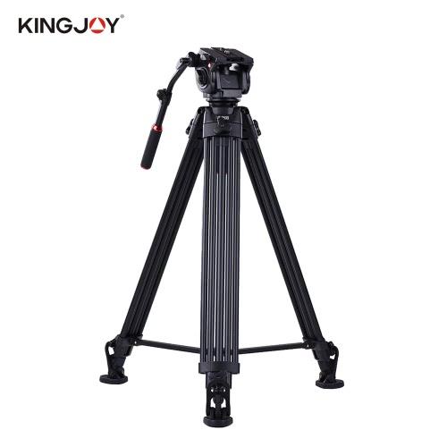Kingjoy VT-3500 197cm / 6.5ft Trípode de videocámara con VT-3530 Cabeza de amortiguación de fluido / antideslizante Forma de herradura Pie / Estable Soporte central Aleación de aluminio Máx. Carga de 20kg / 44Lbs para Sony A7 A7II A7RII ILDC Estudio de vídeo Fotografía
