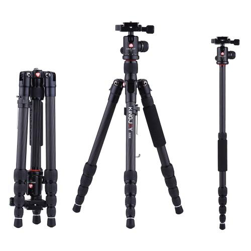 KINGJOY K029 135cm / 4.4 pies de peso ligero de fibra de carbono portátil trípode de la cámara