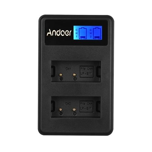 Andoer LCD2-LPE17 Compact Double Canal LCD Caméra Chargeur de Batterie USB Entrée LCD Affichage pour Canon LP-E17 Caméra Batterie pour Canon EOS M3 M5 M7 77D 800D 750D 760D 200D