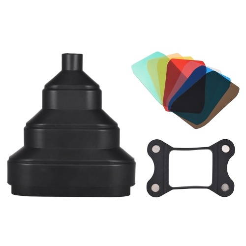 Rubber Scalable Conical Snoot with 5pcs Color Filter Kit Magnet Adsorption for Neewer Canon Nikon Yongnuo Godox Meike Vivitar Photography On-camera Speedlite Speedlight
