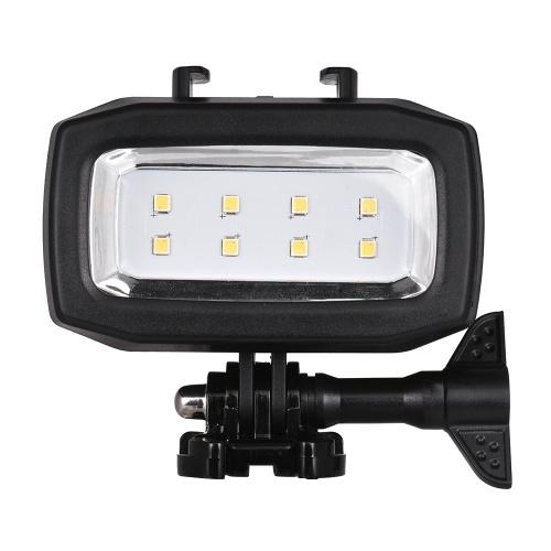 Action Camera Diving Lampe de remplissage LED 600LM 3 modes d'éclairage 30m étanche avec 2 piles rechargeables pour GoPro Hero 7/6 / 5s / 5 / 4s / 4/3/3 + / 3 pour caméras de sport SJCAM Xiaomi Yi