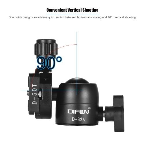 DIFUN D-32A Professional Aluminum Alloy Ball Head 1/4 Inch Screw 3/8 Inch Screw Hole for Canon Nikon Sony Pentax DSLR ILDC Cameras Max. Load Capacity 8kg