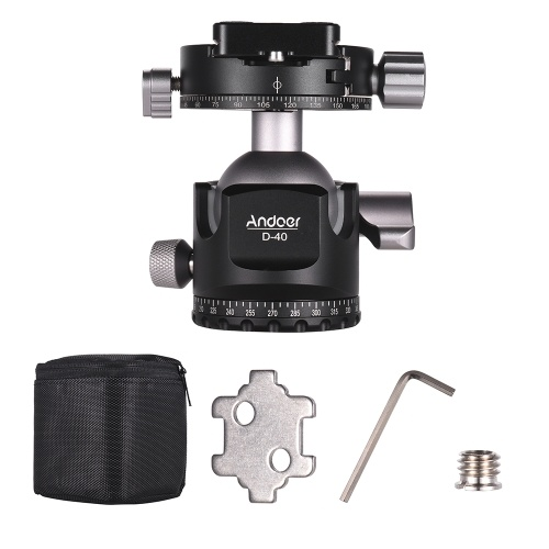 Andoer D-40 Professional Double Panoramic Head CNC Machining Aluminum Alloy Ball Head Double U Notch Design Low Center of Gravity for Tripod Monopod DSLR ILDC Cameras Max Load Capacity 25kg D6229