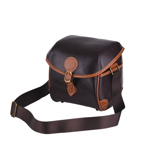 Vintage PU Leather DSLR Camera Bag Case Fashionable Shoulder Messenger Camera Lens Bag for Sony A7 Series NEX Series A9 A6300 Canon EOS M Series Fujifilm XA5 XT20