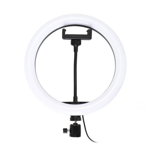 Lampada circolare LED dimmerabile da 10 '' con lampada regolabile con clip per telefono