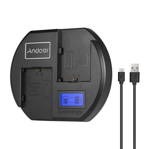 Andoer Fast Charger Dual-Channel-Kamera-Ladegerät Digitale LCD-Anzeige USB-Eingang für Canon LP-E6 Akku für Canon EOS 60D 70D 80D 6D 6D2