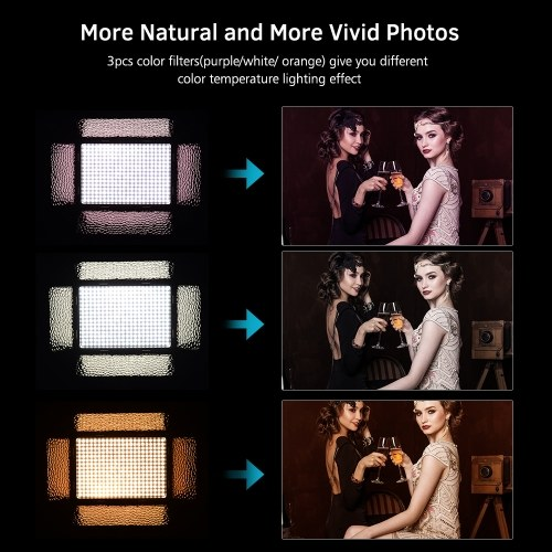 Andoer LED Video Light Photography Lamp Panel Brightness Adjustable 5500K with 3pcs Color for Canon Nikon Sony DSLR Camera DV Camcorder