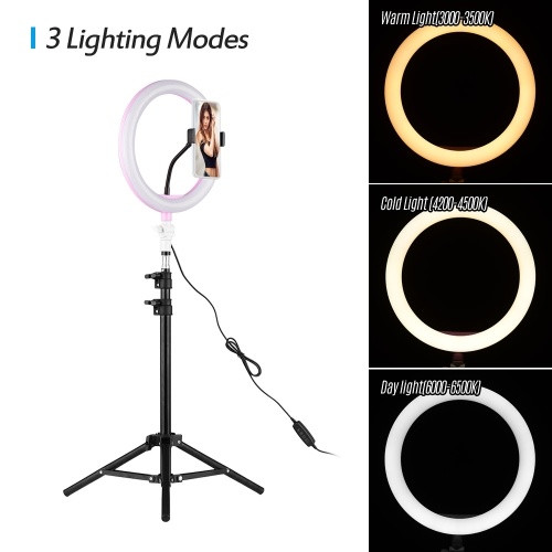 Andoer 26cm/10 Inch LED Ring Light with Light Stand Universal Phone Holder Kit USB Powered with Wired Remote Control 10 Levels Brightness Day Light Cool White Warm White for YouTube Video Live Makeup Vlogging Portrait Photography