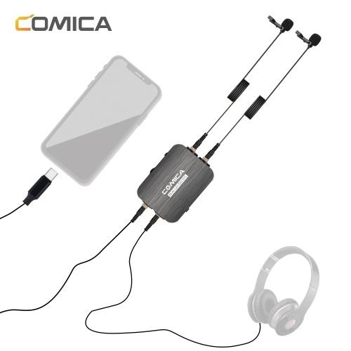 CoMica CVM-D03 STC Allseitiges Lavalier-Revers-Mikrofon mit zwei Köpfen