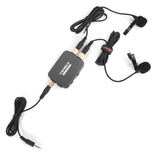 CoMica CVM-D03 Microphone à cravate cravate double tête omnidirectionnel