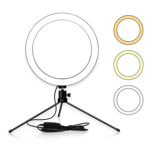 Lampada da tavolo a LED da 6 pollici Anello 3200-5600K 3 colori 10 livelli Luminosità regolabile con treppiede