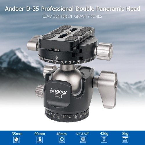 Andoer D-35 Low Profile Double Panoramic Head CNC Machining Aluminum Alloy Ball Head Tripod Head Compatible with Canon Nikon Sony DSLR Max. Load 8kg